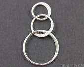 Sterling Silver, Three Circle Flattened Link Component, Simple Lovely Jewelry Component Finding, (SS/694/37x18) 1 Piece
