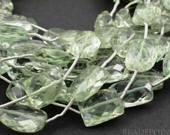 Natural ''NO TREATMENT'' Green Amethyst Medium Microfaceted Chicklets, AAA Quality Gemstones  8x12 to 10x16 mm , 1 Strand, (GAMmedchic)