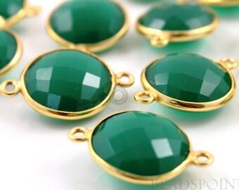 Natural Green Onyx, Bezel COIN Shape Gemstone Component, 2Gold Vermeil,   16 mm 1 Piece, (BZC7251)