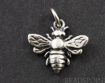 Sterling Silver, Honey Bee Charm /  Pendant with Open Jump Ring, Sweet Jewelry Component,  1 Piece, (SS/CH6/CR16)