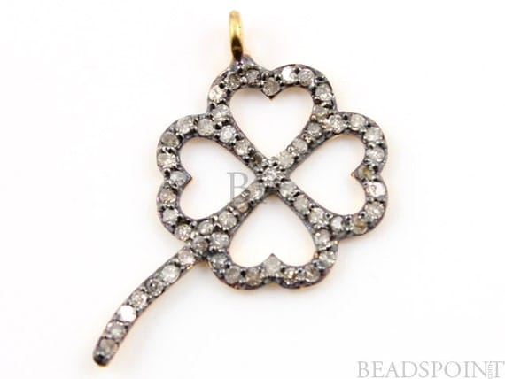 Pave Diamond Pendant, Pave St. Patrck's Clover Pendant, Diamond  St. Patrck's Clover Charm, Pave Connector, Gold Plated Silver. (DCH/CR13)