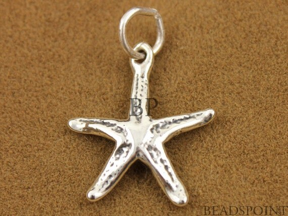 Sterling Silver Realistic Starfish Charm / Small Pendant w/ Open Jump Ring, Sea Life Jewelry Component , Two Sided,  (SS/CH7/CR5)