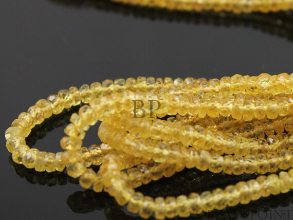 Natural AAA Quality, Rich Yellow Sapphire Gemstone, Faceted Rondelle Buttons, 3 to 3.5mm, 1 Full Strand, (SPHYELMICFRNDL)