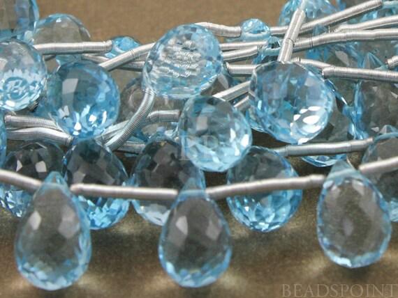 Sensational Genuine, Blue Topaz Micro Faceted Tear Drop Briolettes, Bright Aqua Blue AAA Quality Gemstones 8x11mm, 4 Pieces, (4BT8x11Tear)
