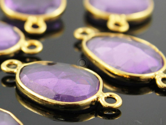 Natural Brazilian Pink Amethyst , Bezeled Gemstone Components, 24K Gold Vermeil Over Sterling Silver,  12 - 16 mm 1 Piece, (BZC7351)