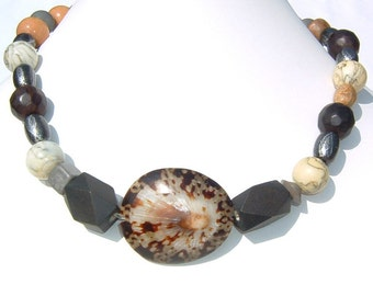 Bole Brown Sea Shell, Gunmetal Gray Beads and Wood Bead Handmade Choker Necklace