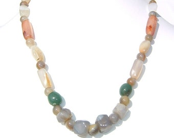 1970s Cinereous and Earthy Colored Semi Precious Beaded  Necklace by FREIRICH