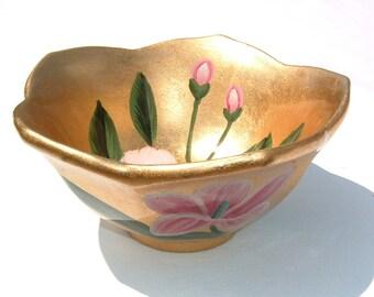 Lily Pad Hand Painted Gold Leaf Porcelain  Bowl / Vase