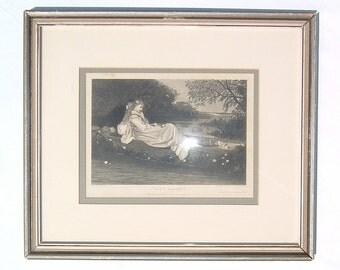 1800s FAST CAUGHT - C. Raupp - Peterson's Magazine Framed Illustration