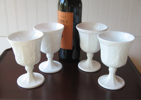 Milk Glass Wine Goblets, Wine Glasses, Vintage Barware, Shabby Chic