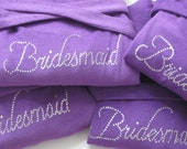BRIDESMAID Gift, Personalized Gift for Bride, Maid of Honor, Flower Girl Dress, Bridal Gown, Purple Wedding Favors, Custom Robe