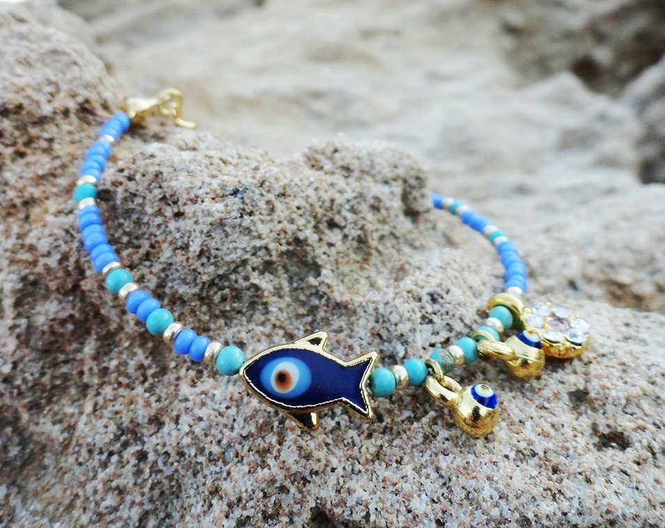 Evil Eye Bracelet In Turquoise Turkish Jewelry Istanbul