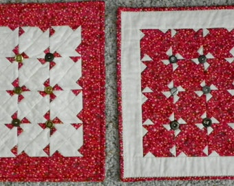 Red calico and pinwheels miniature quilts