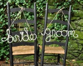 Bride and Groom Upcycled  Yarn Word- White Wire Word-- Wedding Chair Tags