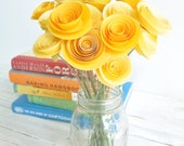 24 Yellow Paper Flowers on Stems- Bouquet of Paper Flowers- Yellow Home Decor