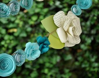 Wedding Garland Paper Flower  garland Teal and white flowers 9 feet