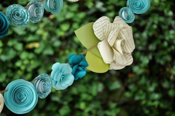 Wedding Garland Paper Flower  garland Teal and white flowers 9 feet