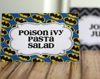 Batman Party Food Tents, Party Food Labels