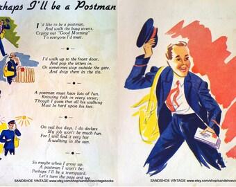 1950 POSTMAN PRINT and POEM 2 Prints