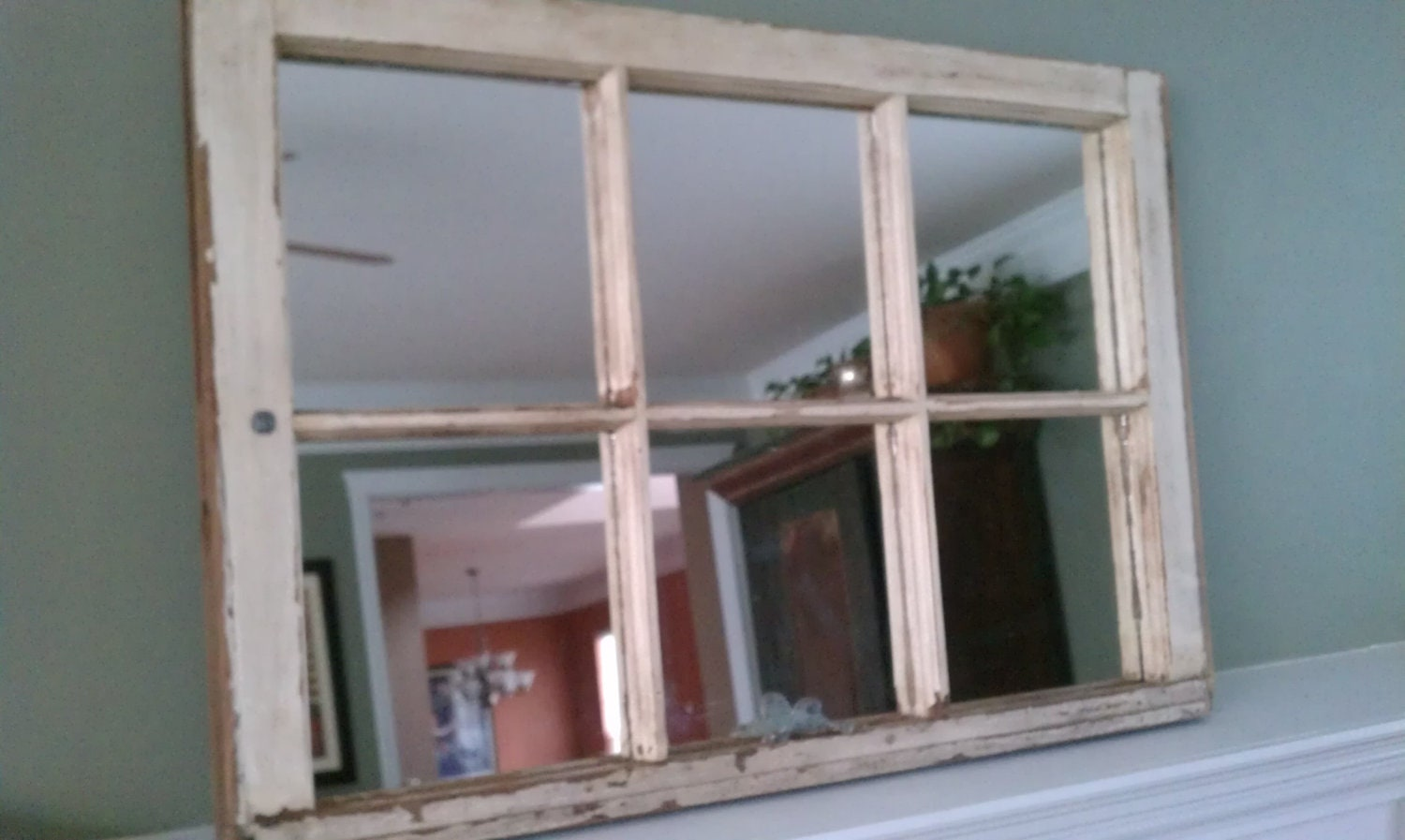 old wood window pane mirror