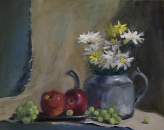 Daisy Still Life, Original Oil Painting, fruit, pewter, teapot, red, green, yellow, grey, apples, grapes
