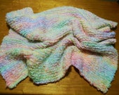 Large 40x30 Soft Cozy Premium Hand Knitted Baby Blanket in Tropical Pastels (Allergy-Free) Hand Made in USA.