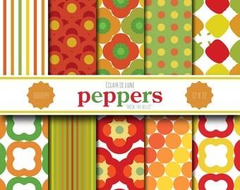 Pepper Digital Scrapbook Paper Orange Green Red