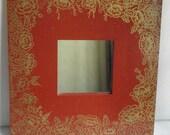 Home Decor Mirror-Red Frame Gold Floral Design