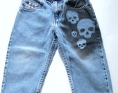 Boys Skull Jeans -- 24 Mo-- Hand-painted/Studded