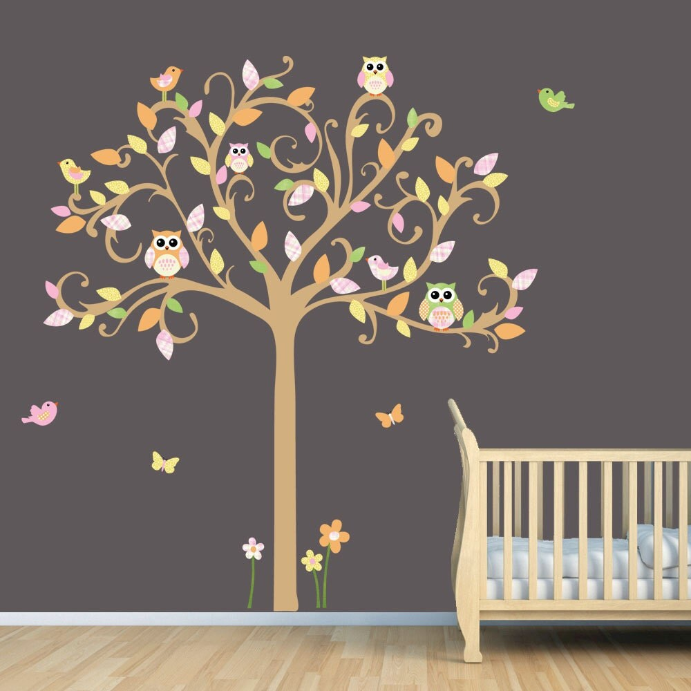 Owl Decal Vinyl Wall Decal Owl Tree Wall Decal Flowers