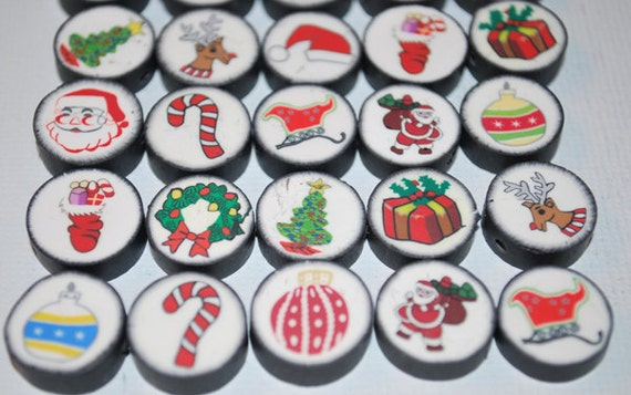 Polymer Clay Multicolored Christmas Designed Beads- Set of 28