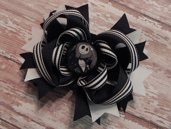 Nightmare Before Christmas Halloween Boutique Layered Bottle Cap Hair Bow - Jack Skellington - OTT over the top - by sweetteabowtique