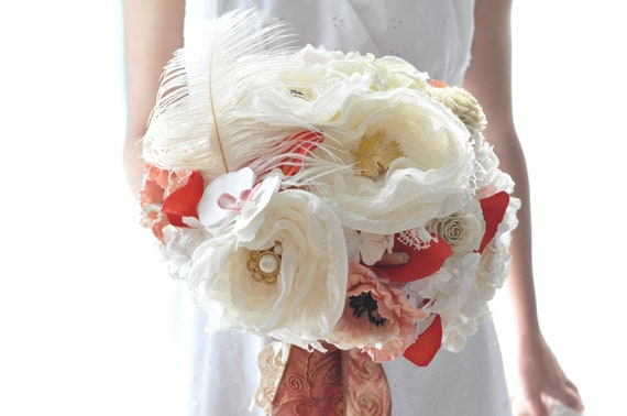 Deposit for Rachel, Orange Mango calla paper flower bouquet with apricot and shabby chic creamy gold accents