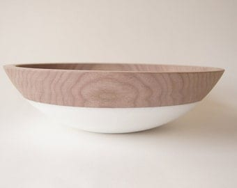 "Wooden Bowl 12"", Walnut and White, Holiday Decor, Entertaining, WALNUT WOOD"