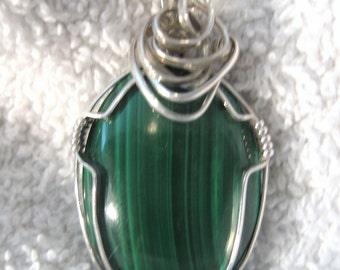 Malachite Pendant Wire Wrapped (Medium) Argentium 935 Anti Tarnish Sterling Silver