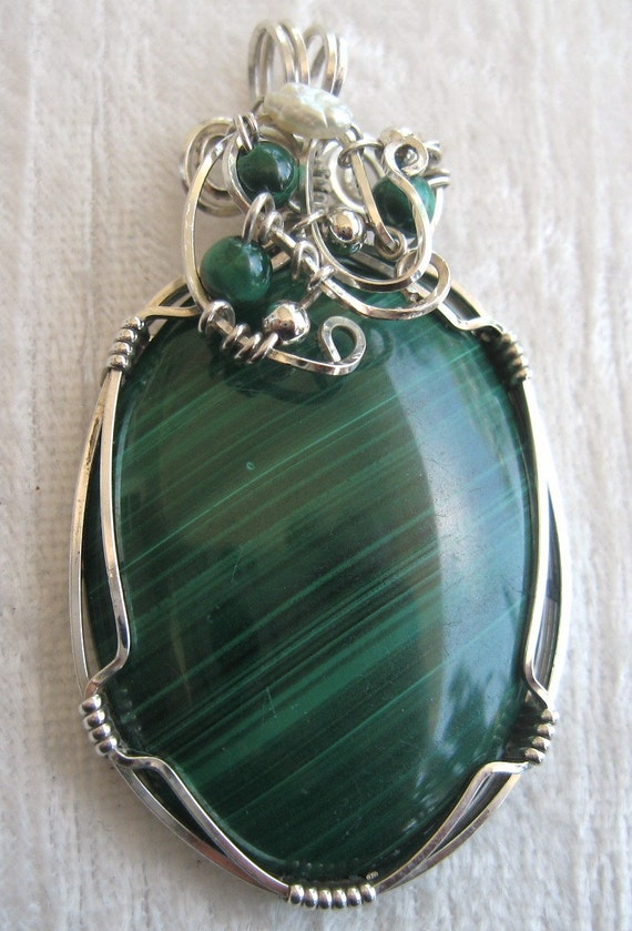 Malachite Pendant Solid 930 Sterling Silver Wire Wrapped in Argentium Anti Tarnish wire