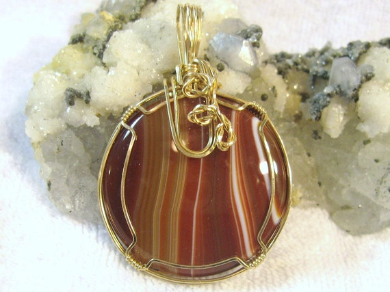 Unisex Banded Agate Pendant Wire Wrapped 14K Gold-Filled (14/20)