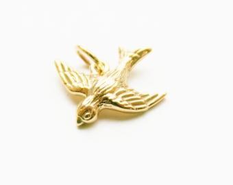 Bird Charm, Bronze Bird Charm, Sparrow Charm, Bronze Sparrow Charm