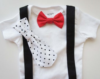Changeable - Baby Tie and Bow Tie Onesie ( T) with Suspenders - set of 4