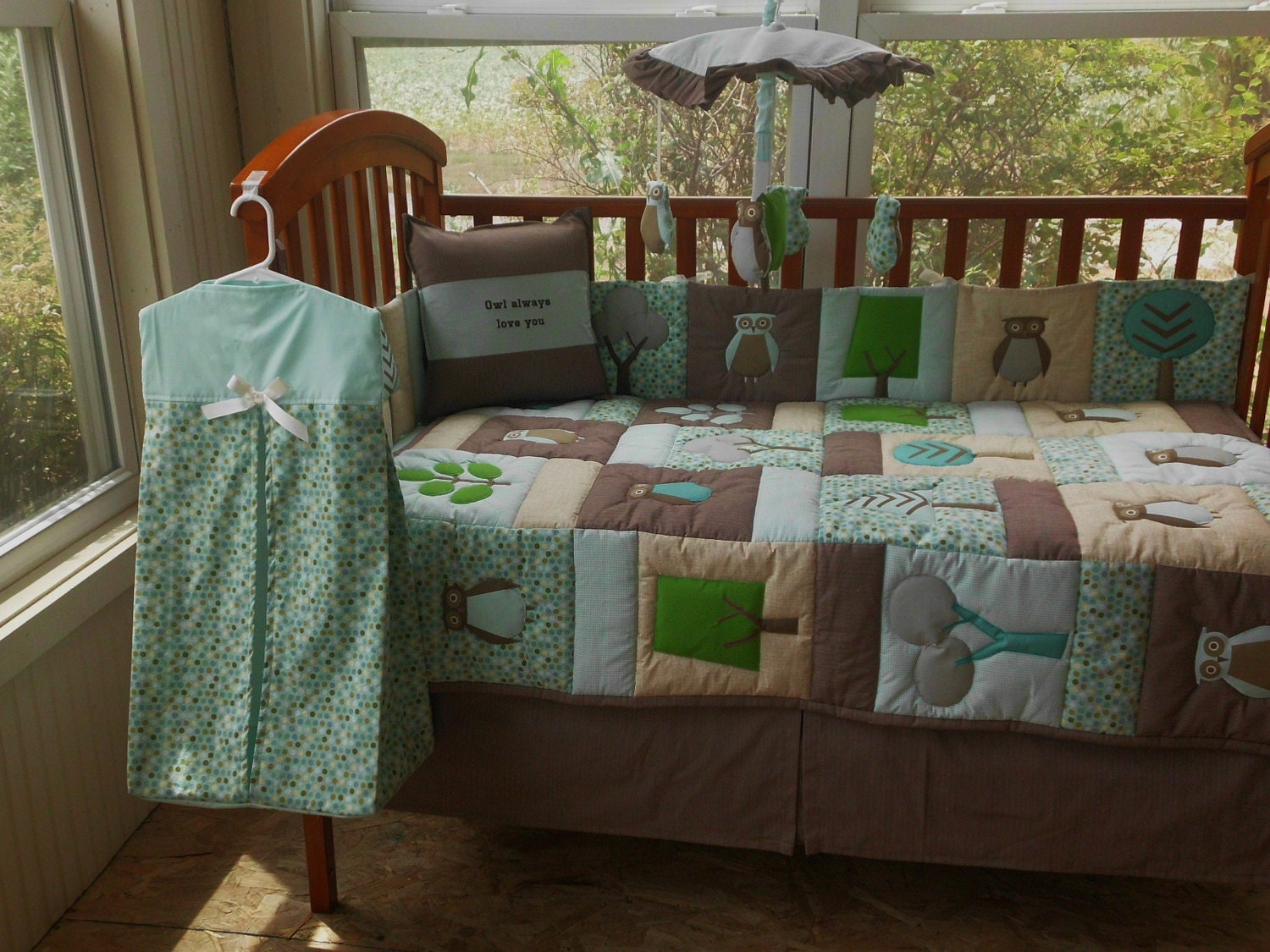 9pc custom dwell studio owl sky fabric crib bedding set by loreiz
