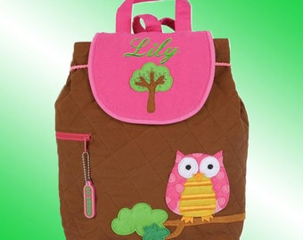Quilted Backpack - Personalized and Embroidered - WOODLAND OWL