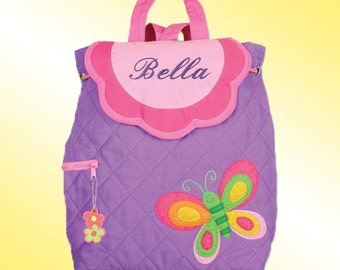 Quilted Backpack - Personalized and Embroidered - BUTTERFLY