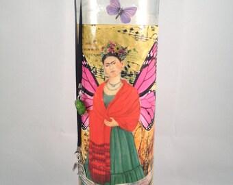 Frida Kahlo Collage Candle