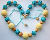 Summer colors colorful necklace - Nursing necklace for mom - Natural Teething necklace - Eco-friendly jewelry - Breastfeeding necklace