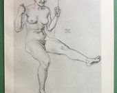 NUDE Study of Woman's Body by Franz Stuck Lover's Swing - VICTORIAN Lichtdruck Antique Print