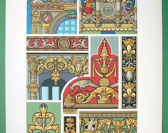 GLASS Paintings Renaissance Era Gisors Rouen Brittany - COLOR Lithograph Antique Print by A. Racinet