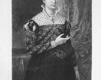 ORIGINAL ETCHING 1876 Print - Portrait of a Lady in Fine Dress by Bronzino