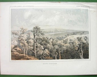 NORTH DAKOTA Scenery at Butte de Morale - 1855 Tinted Litho Antique Print