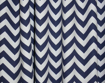 """Two CURTAIN 24"""" Wide X up to 96"""" Long each -  Navy and White Chevron"""