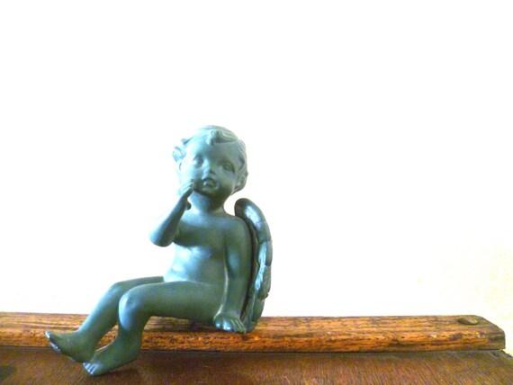 Vintage Blue Green Cherub Ceramic Angel Figurine